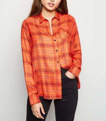 Orange Check Print Herringbone Shirt