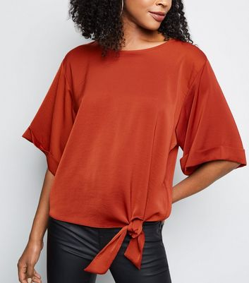 Rust Satin Tie Front Blouse