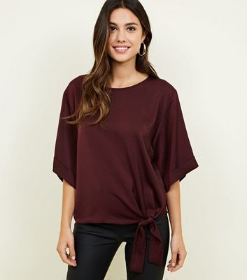 Dark Purple Tie Front Satin Blouse