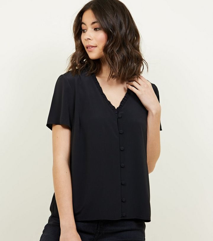 1cb1e725 Black Frill Neck Short Sleeve Blouse | New Look