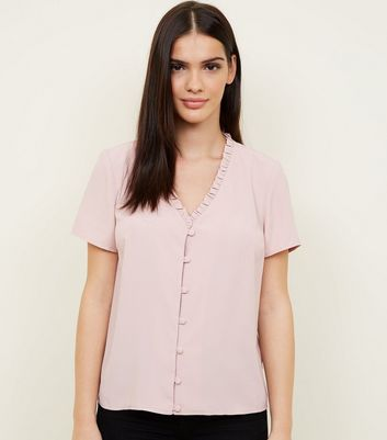 Pale Pink Frill Neck Short Sleeve Blouse