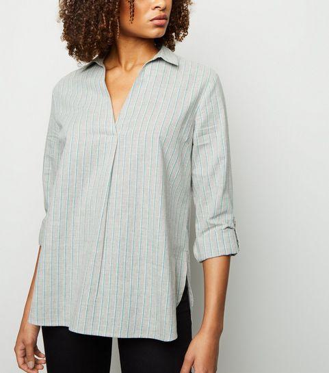 38ba21ed6b9a1 ... Light Grey Stripe Overhead Shirt ...