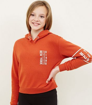 Girls Orange New York Logo Hoodie