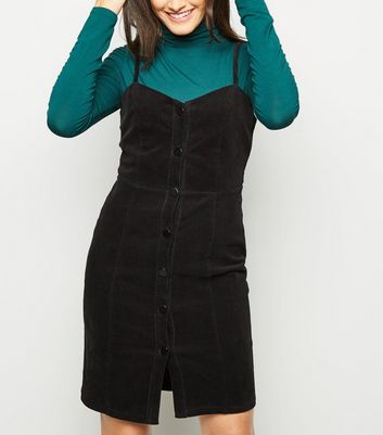 Black Corduroy Button Front Mini Dress