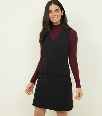 Black Scuba Pocket Front V Neck Dress