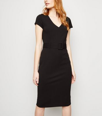 Black Scuba Belted Midi Dress