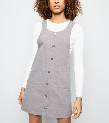 Grey Corduroy Button Front Pinafore Dress