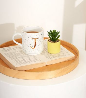 White Speckled J Initial Mug
