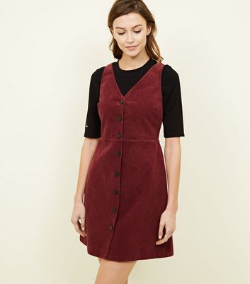 Plum Corduroy Button Front Dress