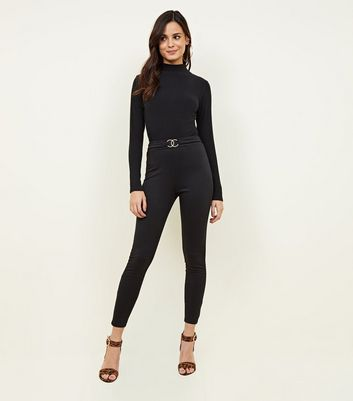 Black Circle Buckle Waist Leggings