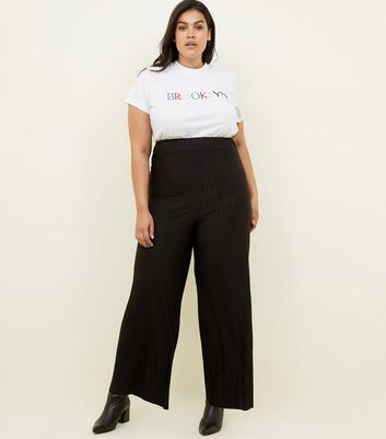 Curves Black Ribbed Wide Leg Trousers
