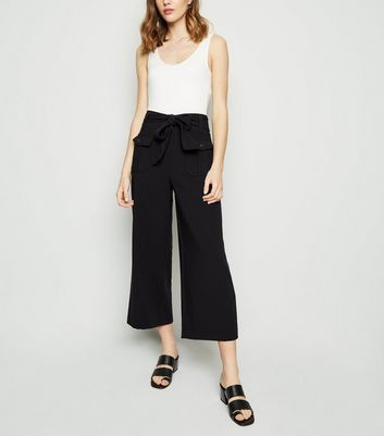 Black Belted Crop Utility Trousers