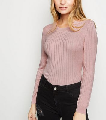 Petite Pink Crew Neck Ribbed Top