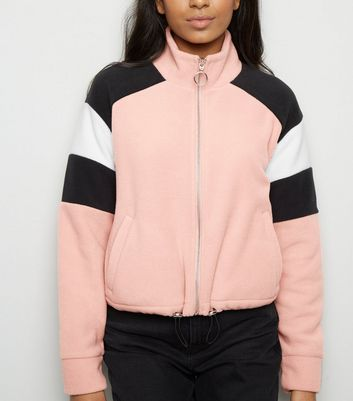 Petite Pink Colour Block Fleece Jacket