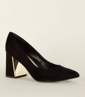 Black Suedette Metal Flare Heel Courts