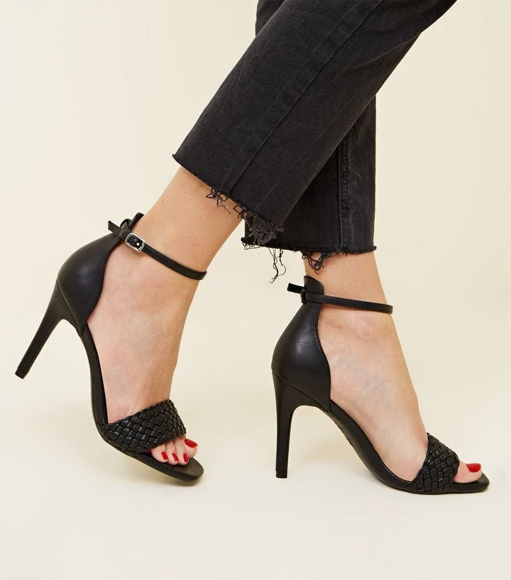 e8d297fe384 ... Black Woven Strap Leather-Look Stiletto Heels. ×. ×. ×. Shop the look