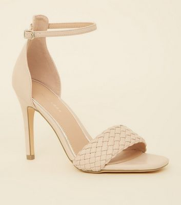 Cream Woven Strap Leather Look Stiletto Heels