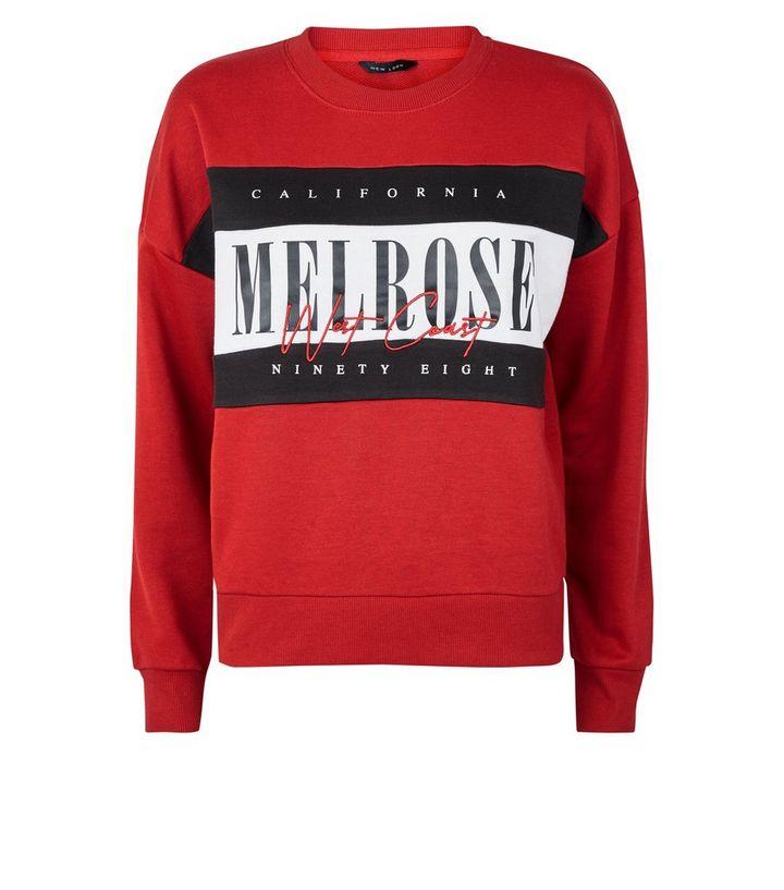 """buy online 9a148 7bf06 Rotes Sweatshirt in Blockfarben mit """"Melrose""""-Aufschrift Für später  speichern Von gespeicherten Artikeln entfernen"""