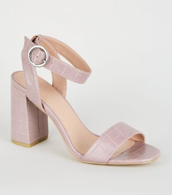 Lilac Faux Croc Ring Buckle Block Heels