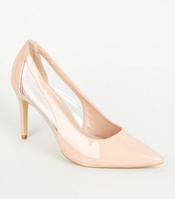 Nude Patent Clear Panel Mid Heel Courts