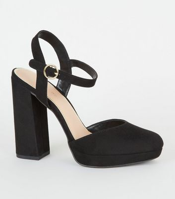 Black Suedette Two Part Platform Courts