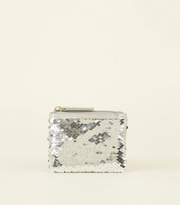 Silver Sequin Zip Top Coin Purse