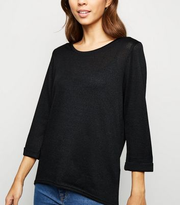 Black 3/4 Sleeve Fine Knit Top