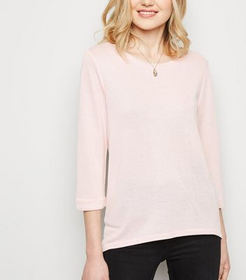 Pink 3/4 Sleeve Fine Knit Top