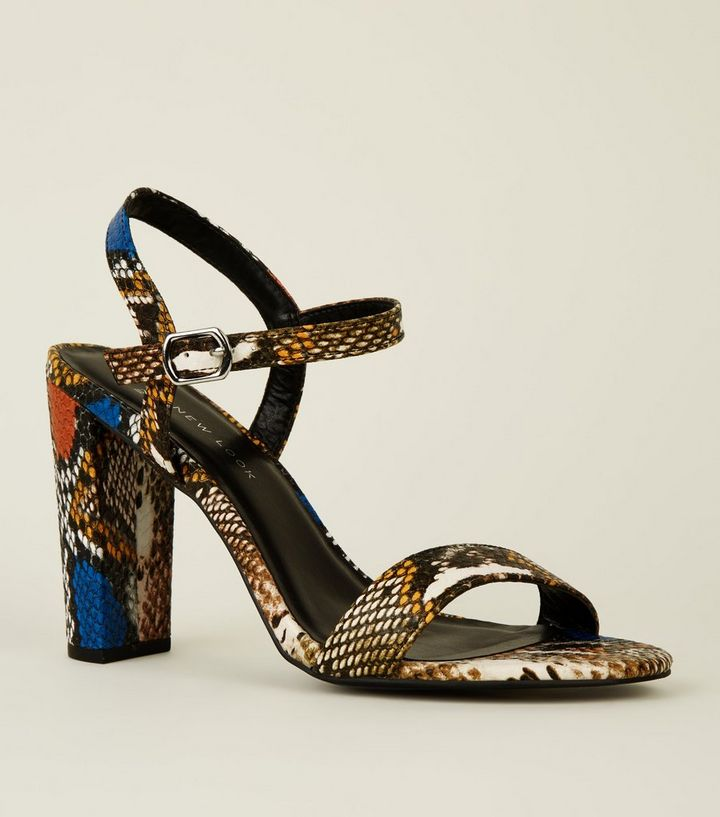 5838daadd621 Wide Fit Multicoloured Faux Snake Heeled Sandals