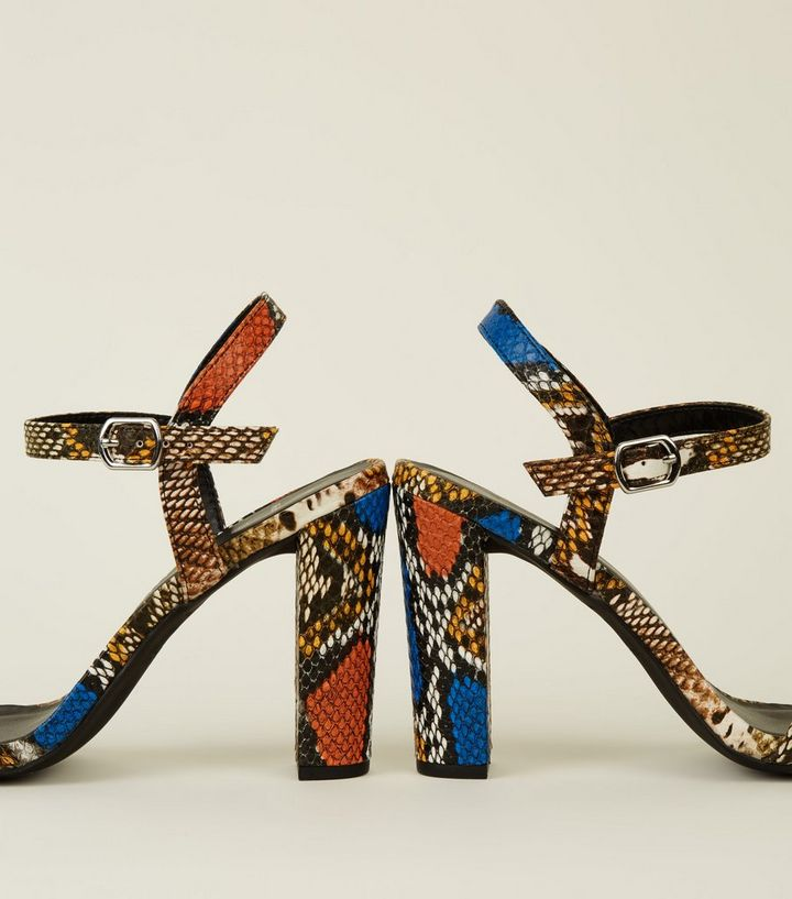 4254e3436120 ... Wide Fit Multicoloured Faux Snake Heeled Sandals. ×. ×. ×. Shop the look