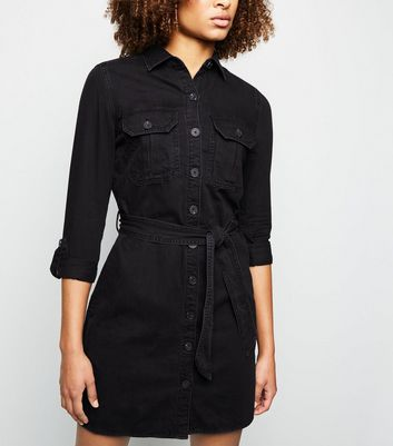 Black Denim Utility Shirt Dress