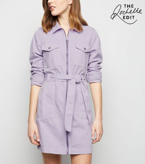 c1495e3791 ... Lilac Denim Utility Shirt Dress ...