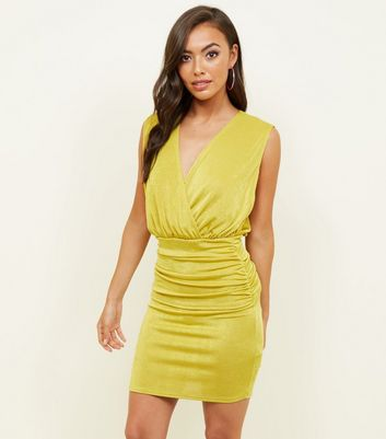 Lime Green Draped Wrap Front Bodycon Dress