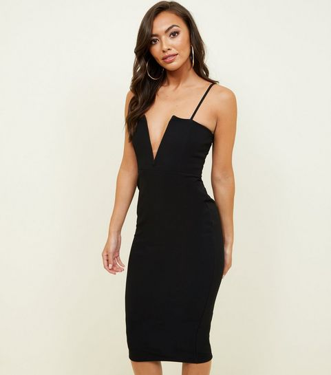 black plunge notch neck bodycon dress