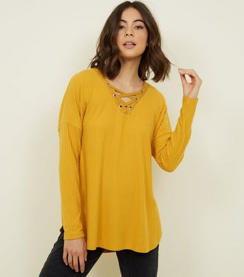 Mustard Brushed Ribbed Lattice Front Top