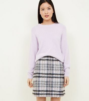 Pink Brushed Check Mini Skirt