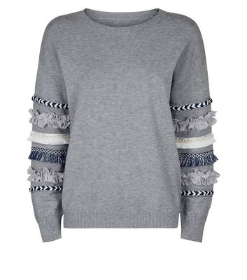 New Look Womens Fringe Sleeve Jumper Sweater