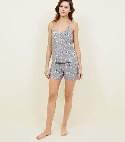 ... Silver Ditsy Floral Plissé Pyjama Set ... b4672780f