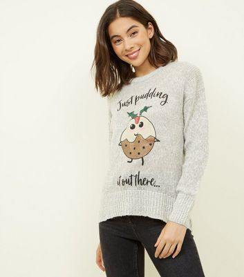 Pale Grey Christmas Pudding Slogan Jumper