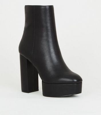 Black Leather-Look Heeled Platform Ankle Boots