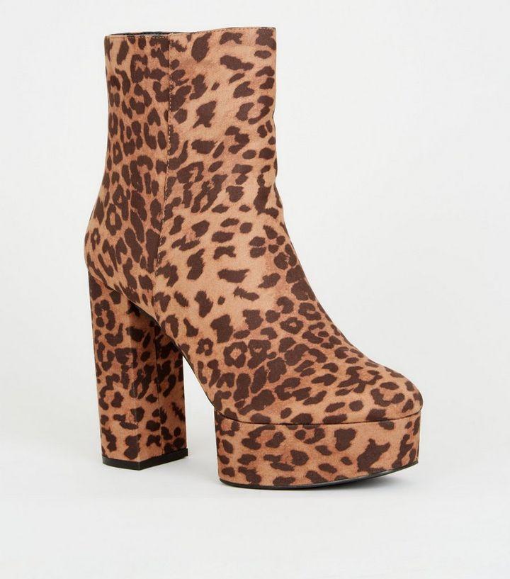 920e5702ce35 Brown Leopard Print Platform Heeled Ankle Boots