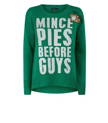 LADIES MINCE PIES BEFORE GUYS NOVELTY GREEN CHRISTMAS JUMPER MEDIUM 12-14