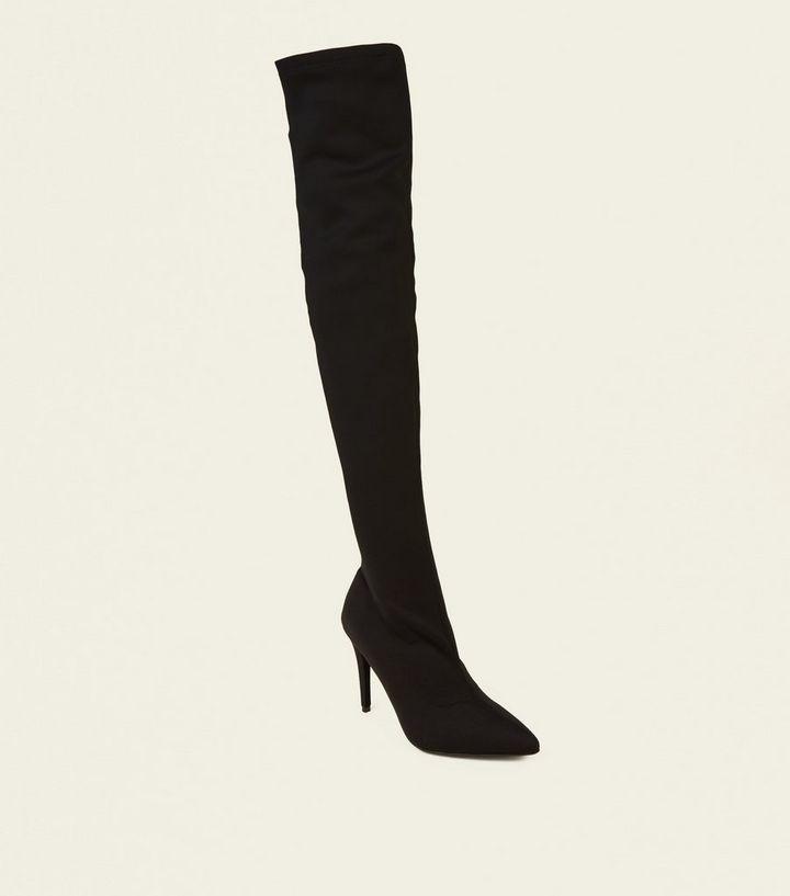 1b661b0f8c297 Schwarze, spitze Overknee-Sock-Boots aus Stretch-Material | New Look