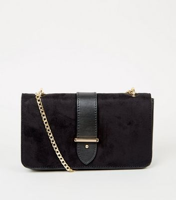 Black Suedette LOVE Charm Shoulder Bag