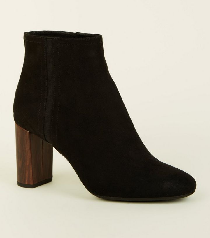 Black Wooden Look Heel Ankle Boots Add To Saved Items Remove From Saved Items