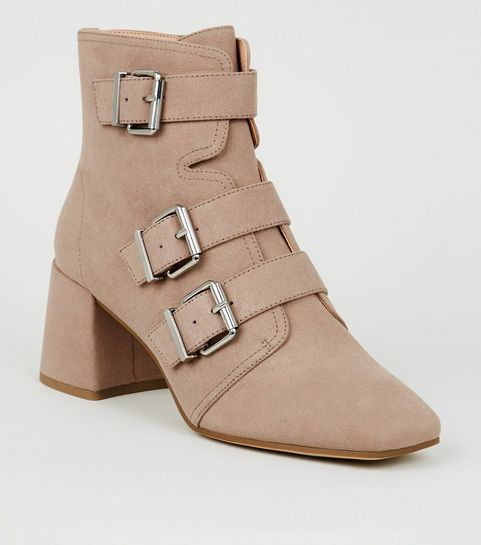 9067b42b63fd ... Light Brown Buckle Side Square Toe Boots ...