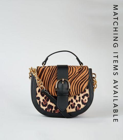 ... Brown Tiger and Leopard Print Saddle Bag ...