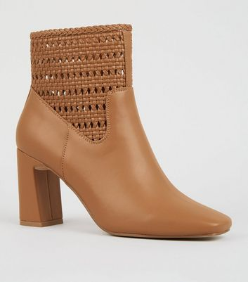 Tan Leather-Look Woven Flare Heel Boots