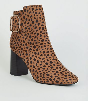 Brown Leopard Print Buckle Suedette Block Heels