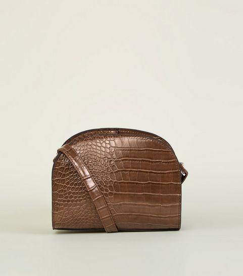 Khaki Faux Croc Curved Cross Body Bag